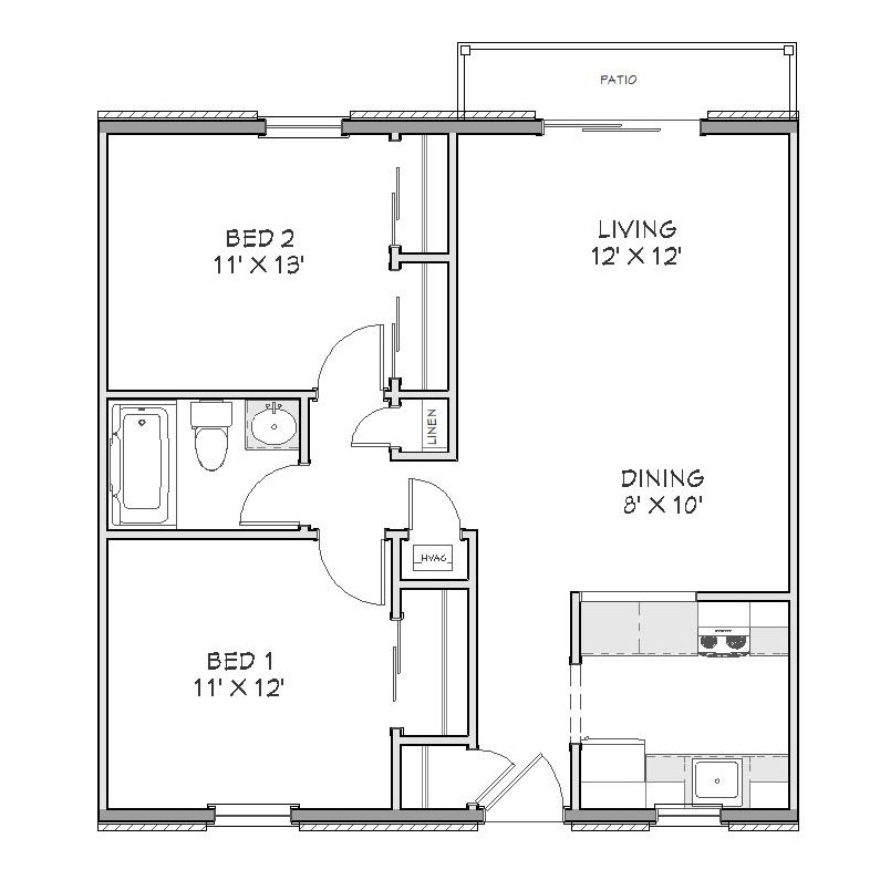 Floorplan – 2 Bedroom – 1 Bath – Style B